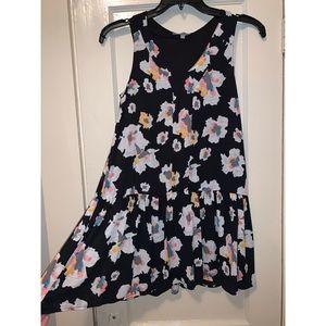 Asher Colorful Flower Black Dress